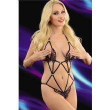 Ağı Açık Göğüs Uçları Dışarıda Kelebekli Erotik Body Çamaşır ART-7038