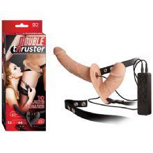 Double Thruster Strap-On - Et Dokulu Çift Taraflı Titreşimli Belden Bağlamalı Protez Penis - Ten Rengi C-N7123T