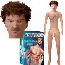 Antonio - 17 cm Titreşimli Penisli 3D Dolgulu Gerçekçi Yüz Gerçekçi El ve Ayaklı Saçlı Realistik Şişme Erkek C-2021