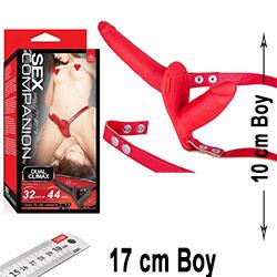 Sex Companion Strapon 17cm ve 10 cm Çift Taraflı Kırmızı Belden Bağlamalı Protez Penis C-N1017K