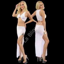 Sütyen Görünümlü Büstiyer Derin Yırtmaçlı Etek Seksi Takım Elbise LB-6065