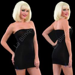 Siyah Pullu Mini Straplez Elbise LB-6074