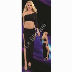 Çift Yırtmaçlı Etek Büstüyer Seksi Elbise Takımı LB-6091